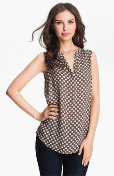 sleeveless dot print blouse!  love this shirt!