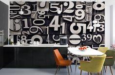 Black and White Letter Block Wall Mural   MuralsWallpaper.co.uk