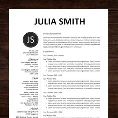 resume cv template professional resume design for word mac or pc free cover letter creative modern the kate - Resume Word Template Free