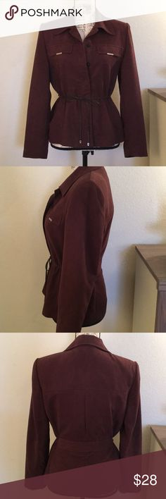 """😍Stunning Chocolate Jacket - Closet MUST HAVE!😍 Suede look snap down shirt with front tie. A jean and bootie """"must have"""" for your closet! Just throw a tank top under it.   ❤️ Enjoy this chocolate dreamy treasure. ❤️ Amanda Smith Tops"""