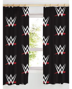 These WWE Logo Curtains feature the WWE logo in a repeat pattern on a black background and are machine washable. Free UK delivery available Wwe Bedroom, Boys Bedroom Curtains, Next Bedroom, Room Ideas Bedroom, Bedroom Themes, Home Decor Bedroom, Kids Bedroom, Wwe Logo, Diy Home Improvement