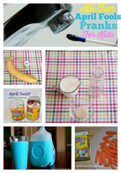 April Fools Day is just around the corner! Here are some harmless and even cute prank ideas kids will love! You are sure to have them squealing! If you are looking for a fun recipe to make with kids don't miss these birds nest cookies I shared this week.  Silly Blue Bathwater and Turn the Milk Blue by Kids Activities Blog April Fools Candy Can and Carrots in the...