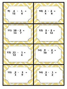 Adding and Subtracting Fractions with Unlike Denominators Task Cards Math Tutor, Teaching Math, Maths, Go Math, Math Art, Adding And Subtracting Fractions, Fractions Worksheets, Exam Papers, Fourth Grade Math