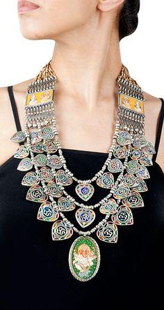 Amrapali Ethnic om-ganesha painting necklace Product Code - AMC09135001 Price - $ 909