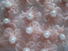 Light Mauve/Pink  Organza Flower with  Beads by TinyLittleCharms, $2.50