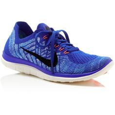 Nike Women's Free 4.0 Flyknit Lace Up Sneakers ($120) ❤ liked on Polyvore featuring shoes, sneakers, royal blue, royal blue shoes, nike sneakers, light weight shoes, lightweight shoes and royal blue sneakers