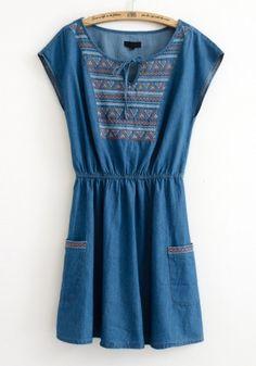 Dark Blue Embroidery Geometric Short Sleeve Denim Dress