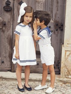 GIRLS COTTON SAILOR DRESS - Designer Girls Clothing - Designer Clothing for Girls by Oscar de la Renta - Oscar de la Renta