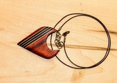 Padouk with ebony and maple insert necklace wooden necklace