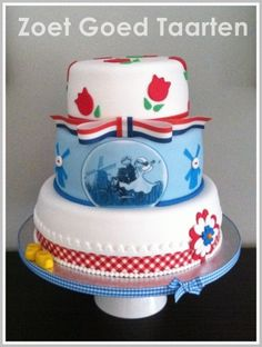 Dutch Wedding Cake Dutch style wedding cake with in the front an icing print of the weddingcard. Pretty Cakes, Beautiful Cakes, Amazing Cakes, Tulip Cake, Round Wedding Cakes, Dutch Recipes, Dream Cake, Sugar Craft, Themed Cupcakes