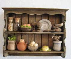 Wall shelffilled Tudor or country style by Insomesmallwayminis, $19.50