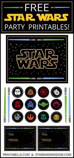 Free Star Wars Party Printables and more | Printabelle --- cupcake toppers, lightsaber decorations, gift tags, thank you notes, bunting, treat bag toppers...