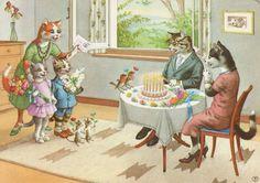 Humanizado vestida animais Alfred Mainzer Gato Gatos Birtday Bolo in Colecionáveis, Cartões postais, Animais | eBay