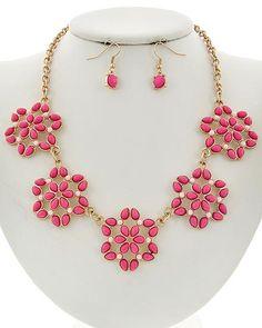 Matte Gold Tone / Hot Pink Acrylic / Lead&nickel Compliant / Fish Hook (earrings) / Flower / Necklace & Earring Set