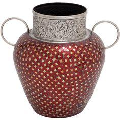 Royal Metal Glass Indian Mosaic Vase