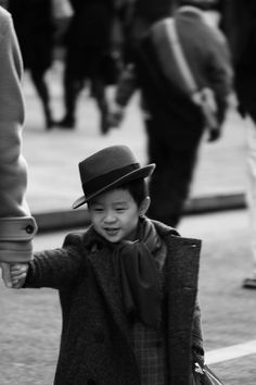 "Photo by Motographer in Japan.  Tokyo street photography. | My reaction when I saw this: ""Ohmygawd look at this little kid he is so cute and omg he has a top hat and everything! So cute!!!"""