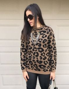 Leopard + Liquid Leggings | how to style a leopard sweater | winter style | winter fashion | styling for fall and winter | cold weather fashion | style ideas for winter | fashion tips for winter | styling over the knee boots | leopard sweater outfit || The Flexman Flat