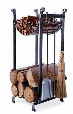 Fireplace Tool Sets On Log Holders: Space Saving