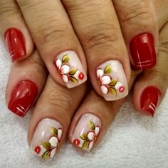 Red Nails, Love Nails, Hair And Nails, Feather Nail Art, Floral Nail Art, Pretty Hands, Nail Arts, Pedicure, Nail Art Designs