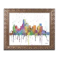 Trademark Fine Art Dallas Texas Skyline Mclr-1 inch Canvas Art by Marlene Watson, Gold Ornate Frame, Size: 16 x 20