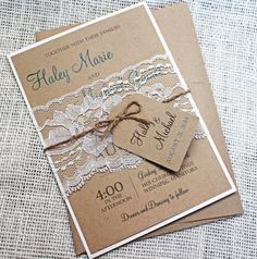 Wedding Invitations Rustic Lace Place Cards Ideas For 2019 Diy Wedding Invitation Kits, Shabby Chic Wedding Invitations, Rustic Invitations, Printable Invitations, Wedding Stationery, Handmade Invitations, Invites, Rustic Wedding Backdrops, Rustic Theme