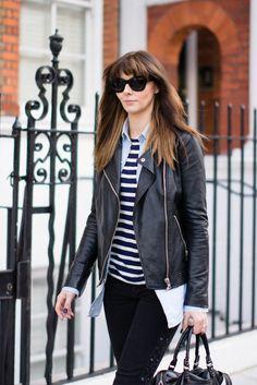 Leather jacket, denim shirt, breton stripe tshirt, black skinny jeans, Balenciaga bag #streetstyle