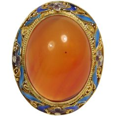 Beautiful vermeil (gold over silver) marked Silver adjustable band filigree ornate ring with large natural carnelian agate and fancy filigree work. Accented with cloisonne enameling. Current size is 9 Nail Guards, Victorian Jewelry, Stone Cuts, Carnelian, Filigree, Fine Jewelry, Ruby Lane, Jewelry Design, Enamel