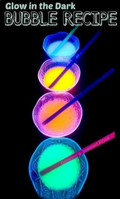 DIY Glow in the Dark Bubbles- great for sensory play, art activities, and more!~T~ Some fun ideas with this recipe.