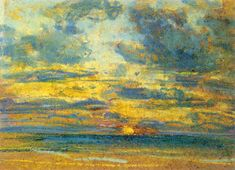 Eugene Boudin Solid-Faced Canvas Print Wall Art Print entitled Study of the Sky with Setting Sun, Framed Art Prints, Fine Art Prints, Poster Prints, Canvas Prints, Posters, Monet, Eugene Boudin, Pastel Paper, Expressive Art