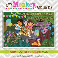 500: DIY - Dora's Safari Adventure Party Invitation Or Thank You Card. $12.95, via Etsy.