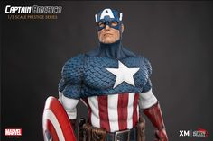 Captain America Statue I sculpted for XM Studios in collaboration with Legendary Beast Studios. I'm really proud and thankful that I was given a chance to work on this piece! I really enjoyed sculpting this statue and I learned a lot too! Captain America Statue, Marvel Captain America, Batgirl, Catwoman, Marvel Statues, Super Soldier, Thing 1, Peggy Carter, Figure Model