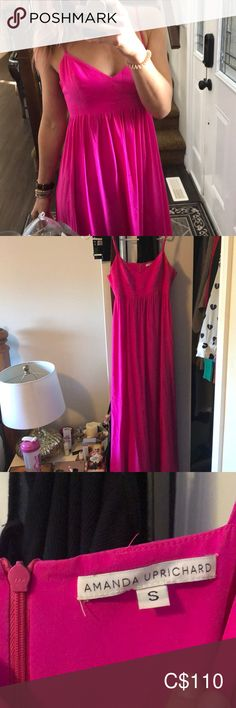 This color truly is something else, an absolute show stopper. Amanda Uprichard, Pink Maxi, Shoe Closet, Hot Pink, Silk, Color, Things To Sell, Dresses, Fashion