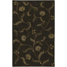 Shop Artistic Weavers Sardinia 8-ft x 11-ft Rectangular Black Floral Area Rug at Lowes.com