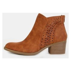Cut Out Boho Ankle Boots COGNAC (110 SAR) ❤ liked on Polyvore featuring shoes, boots, ankle booties, cognac, summer boots, boho boots, cut-out boots, summer ankle boots and ankle boots