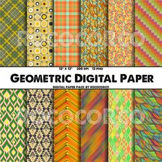 50% OFF SALE  12 color set Pattern Digital Paper Pack by RococoRco