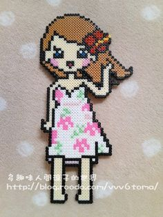 Long hair floating girl  perler beads by Ryoko  Make for sister, add more of a gothic-y touch? ouo