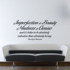 Marilyn Monroe Wall Decal Vinyl Imperfection is Beauty Quote Living Room Bedroom Decor. $25.00, via Etsy.