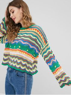 Nonelastic Full Crew Regular Loose Casual Pullovers Loose Knit Multicolored Sweater Nonelastic Full Crew Regular Loose Casual Pullovers Loose Knit Multicolored Sweater Record of Knitting Wool spinning, we. Crochet Jumper, Crochet Jacket, Knit Crochet, Chunky Crochet, Crochet Pattern, Handmade Clothes, Diy Clothes, Cardigan Fashion, Crochet Fashion