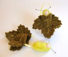 Leaf ornament pocket doll hand caterpillar waldorf by fairyshadow, $14.00