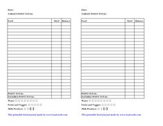 Weight Watchers Points Chart Printable   Weight Watcher Food Journal