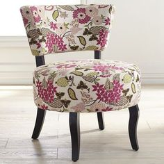 Our mod little slipper chair is as fun as they come. Covered in a bold floral print, Sabine features a round seat, open back and curved hardwood frame. For an inanimate object, she sure struts her stuff. Tire Furniture, Funky Furniture, Recycled Furniture, Floral Furniture, Handmade Furniture, Furniture Design, Floral Chair, Tire Chairs, Accent Chairs For Living Room