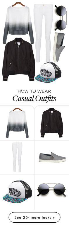 """casual and cool"" by ruthjauregui on Polyvore featuring Vince, MANGO, Frame Denim, Vans, women's clothing, women's fashion, women, female, woman and misses"