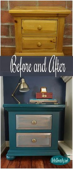 before and after outdated gold pine nightstand turned boho beauty diy general finishes milk paint eclectic bohemian home decor Diy Garden Furniture, Diy Pallet Furniture, Refurbished Furniture, Paint Furniture, Repurposed Furniture, Furniture Makeover, Home Furniture, Dresser Makeovers, Furniture Dolly