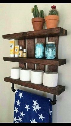 Bathroom shelf and nursery shelf, with pipe towel and baby blanket rack. Store all your bathroom essentials in style with this beautiful dark wood(Diy Bathroom Shelf) Rustic Bathroom Shelves, Bathroom Storage Shelves, Rustic Bathroom Decor, Bath Shelf, Bathroom Ideas, Bathroom Mirrors, Bathroom Renovations, Small Bathroom, Rustic Shelving