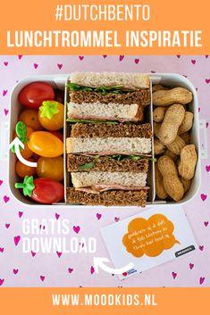 Geef je kinderen een gezonde en leuke lunch mee naar school in de broodtrommel. Maak ook deze lunch ideëen van Dutch Bento. Met gratis download broodtrommelbriefjes #broodtrommel #schoollunch .#dutchbento School Lunch Box, Bento Box Lunch, Lunch Snacks, Lunches, Lunch Boxes, Lunchbox Ideas, Kids, Seeds, Young Children
