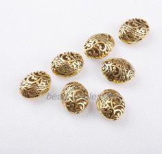 10pcs Antique Tibetan Silver Ellipse Shaped Hollow Spacer Bead Findings | eBay