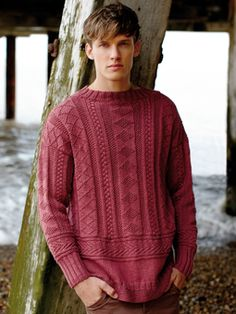 Knit this mens textured sweater from the Softknit Collection, a design by Martin Storey using Softknit Cotton, a wonderful cotton drape yarn (cotton and polyamide). With cable and moss stitch detail, this knitting pattern is suitable for the average knitter.