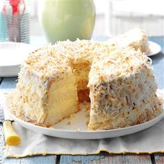 Lime Angel Food Cake Recipe -For my husband's family reunion, I took a store-bought angel food cake and turned it into this special dessert with a lovely lime cream frosting topped with toasted coconut. It went over big! —Nancy Foust, Stoneboro, Pennsylvania