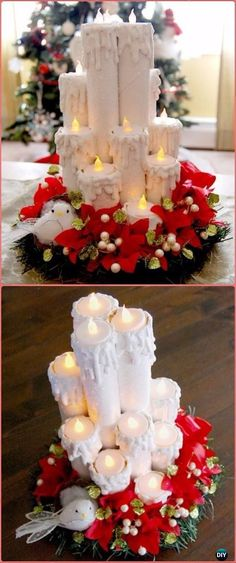 DIY Paper Roll Christmas Craft Ideas & Projects Instructions DIY Paper Roll Tea Candle Centerpiece T Christmas Craft Fair, Christmas Paper, Holiday Crafts, Candle Centerpieces, Christmas Centerpieces, Xmas Decorations, Christmas Candles, Christmas Ornaments, Diy Papier