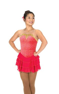 Jerry's Figure Skating Dress 221 - Coral Cascade